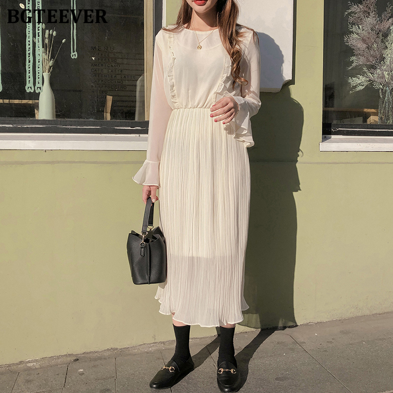 BGTEEVER Elegant O-neck Ruffles Women Dress Chiffon Flare-sleeve Elastic Waist Female Dress 2020 Spring Summer Vestidos Femme