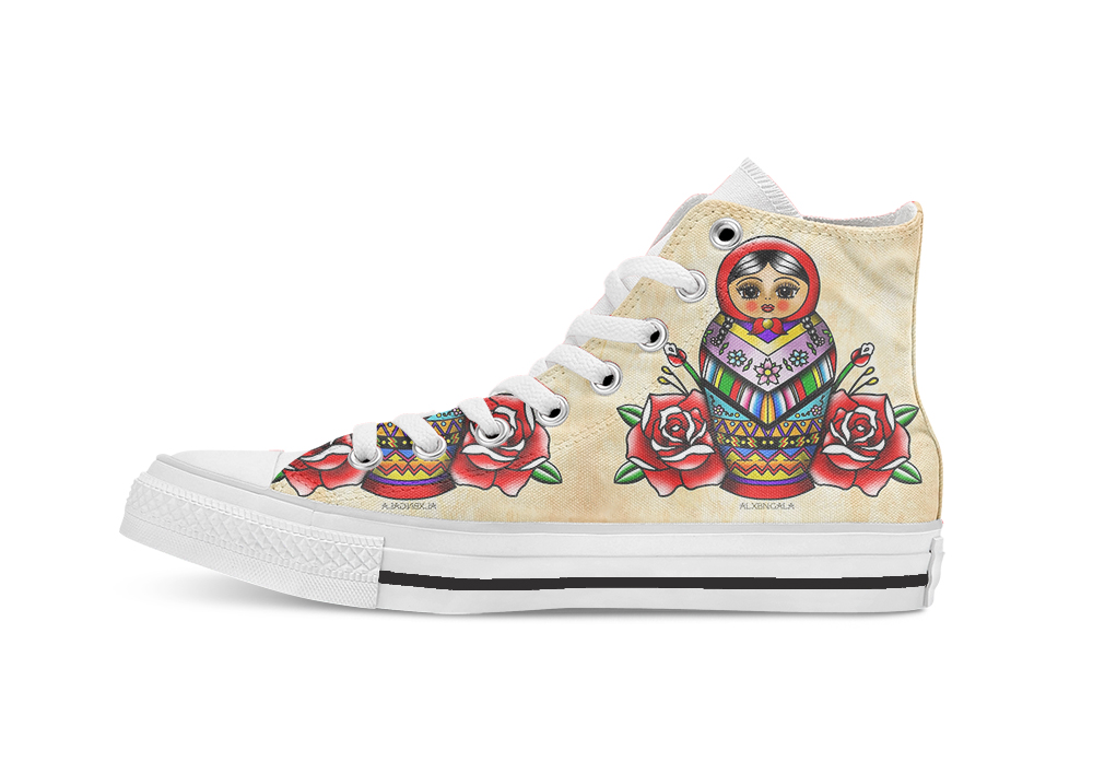 Vectorized Mexican Matryoshka 2  Custom Casual High Top Lace-up Canvas Shoes Sneakers Drop Shipping