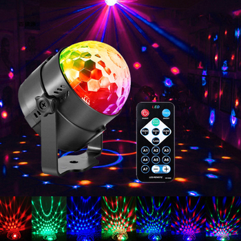 Holiday Indoor Party Lights Disco Ball Sound Activated Rotating LED Light RGB Remote Control Outdoor