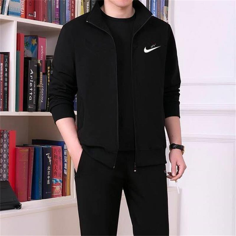 Autumn & Winter Hoodie Men Leisure Sports Suit Middle-aged Daddy Clothes Large Size Coat Two-Piece Set