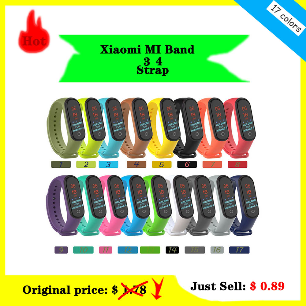 Watchbands For Xiaomi MI Band 3 4 Soft Silicone Mi Band 3 4 Smart Watch Accessories  Wrist Strap Pulsera Correa Mi 3 Replacement