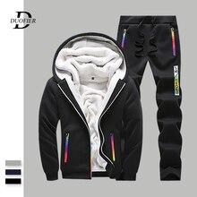Sweat à capuche et pantalon pour hommes, vêtements de sport chaud épais, imprimé, hiver, collection décontracté