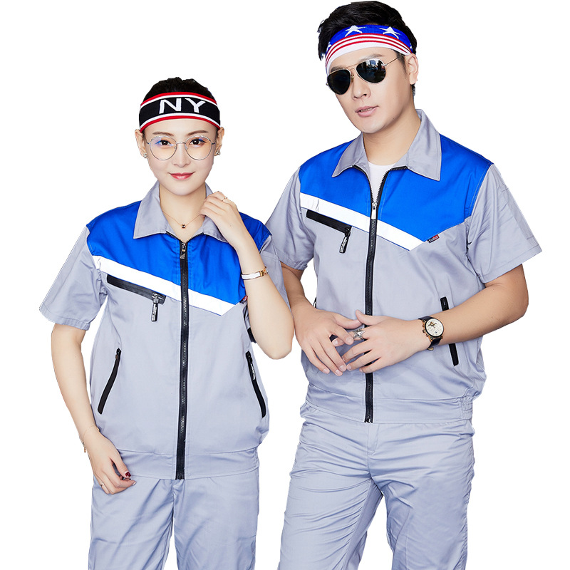 Worker Clothes Set Male/female Factory Uniform Short-sleeve Coveralls Summer Reflective Auto Repair Workshop Factory Workwear4XL