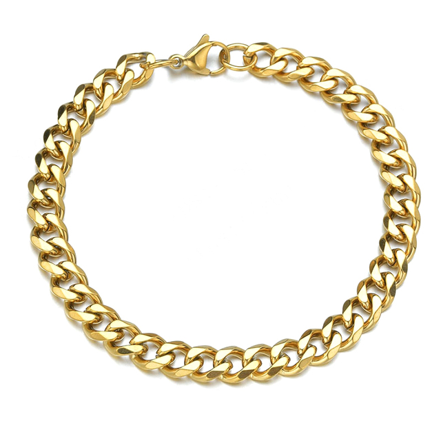 High Quality Stainless Steel Bracelets For Men Blank Color Punk Curb Cuban Link Chain Bracelets On the Hand Jewelry Gifts trend 4