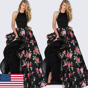 2019 Women Lady Satin Floral Long Black Print Backless Dress Club Wear Evening Party Gown 1