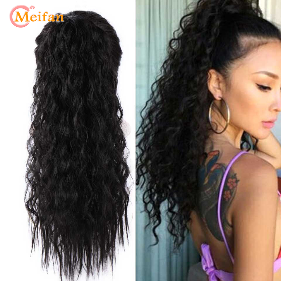 MEIFAN Long Afro Kinky Curly Ponytail Hairpiece Velcro Wrap On Pony Tail Hair Extensions Synthetic Fake Hair Pieces