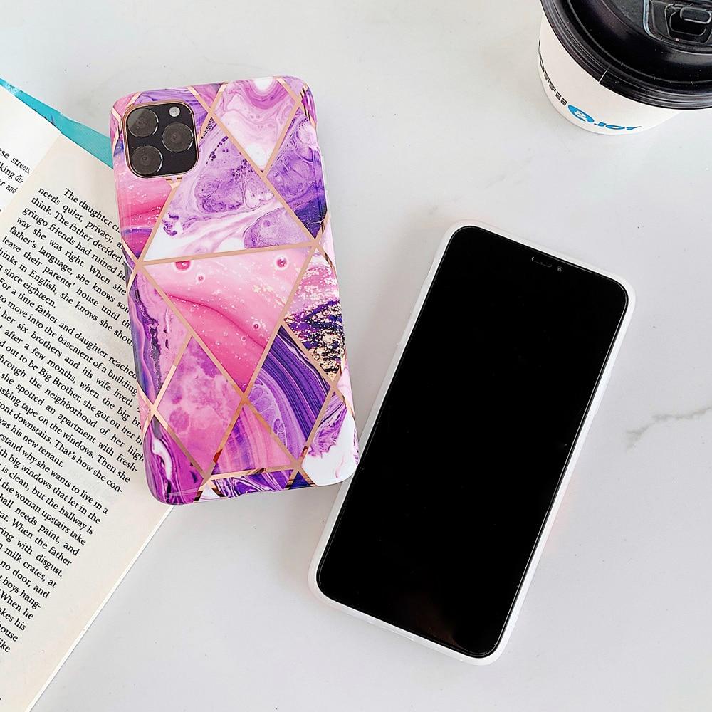 Geometriskt marmor telefonfodral för iPhone SE 2 X XR XS Max - Reservdelar och tillbehör för mobiltelefoner - Foto 4