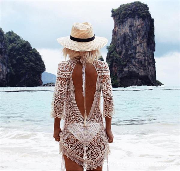 Europe And America Big Brand Beach Holiday Coat Sexy Hollow Out Lace Crochet Backless Dress Bikini Blouse