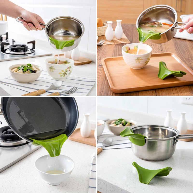 Cuisine anti-débordement en silicone à enfiler pour soupe Bec Verseur Entonnoir pots casseroles Bols Al