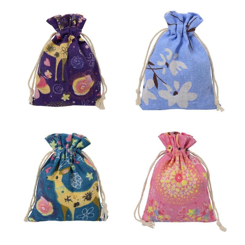 Christmas Linen Jute Drawstring Gift Bags Sacks Wedding Birthday Party Favors Drawstring Gift Bags Baby Shower Supplies