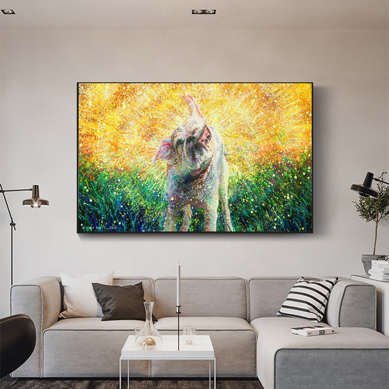 RELIABLI ART Dog Water Pictures Animal Abstract Posters Oil Painting On Canvas Modern Decoration Wall Art Living Room No Frame