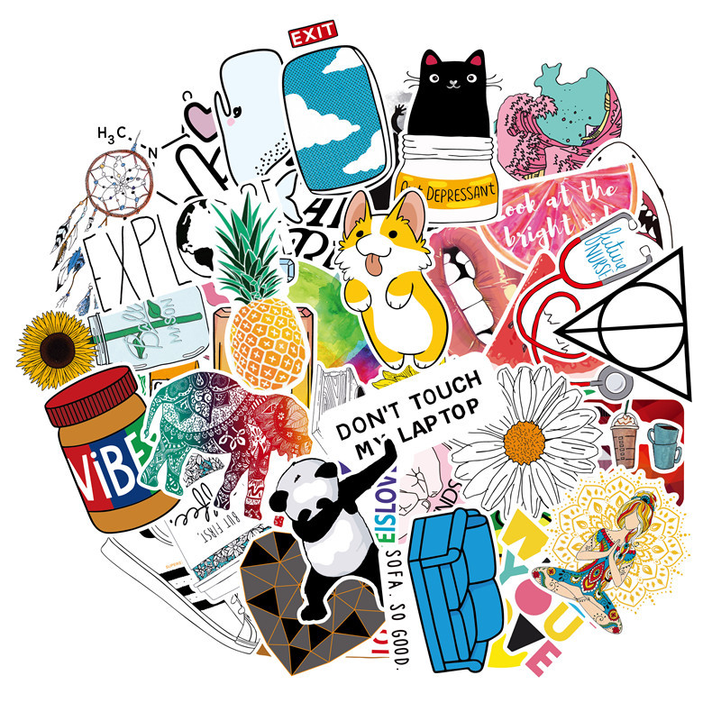 Cute&Trendy Stickers 46PCS Teens Toys Sticker For Laptop Water Bottle Travel Case Skateboards Vinyl Sticker