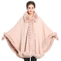 Fur Collar Large Shawl Female Imitation Fox Fur Cashmere Cloak Winter New Fashion Warm Performance Good Comfort Wild Personality