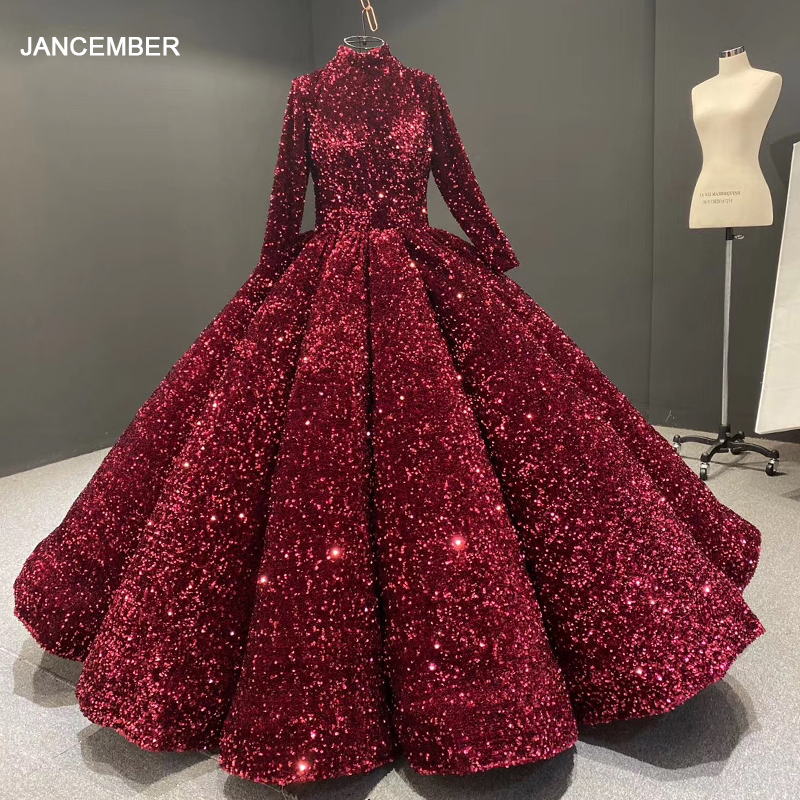 J66991 Jancember Formal Dress For Teenagers High Neck Long Sleeve Sequined Red Quinceanera Dresses Vestidos De Quincea Era 2020