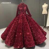J66991 jancember formale kleid für jugendliche high neck langarm pailletten rot quincean era kleider vestidos de quincea era 2020