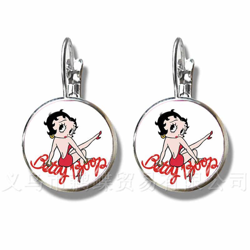 יפה בטי בופ עגילי האמריקאי סגנון מפורסם דמויות מצוירות זכוכית קרושון בעבודת יד המפלגה טובות Stud עגילים