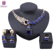 Роскошный золотой цвет синий кристалл Леопард массивное ожерелье и серьги кольцо для женщин вечерние свадебные комплекты ювелирных изделий