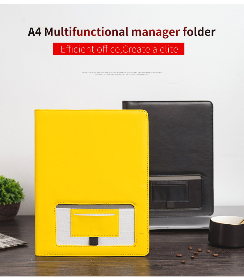 High Quality Yellow Leather Stationery Portfolio Recycled Business Office Conference Document Organizer Padfolio Folder Manager