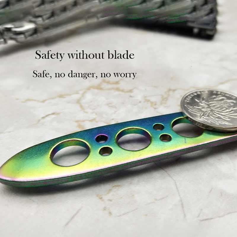 Caldo arcobaleno colore 3Cr13Mov in acciaio inox coltello a farfalla di formazione concorrenza della lama della lama esterna coltello strumento smussato senza lama