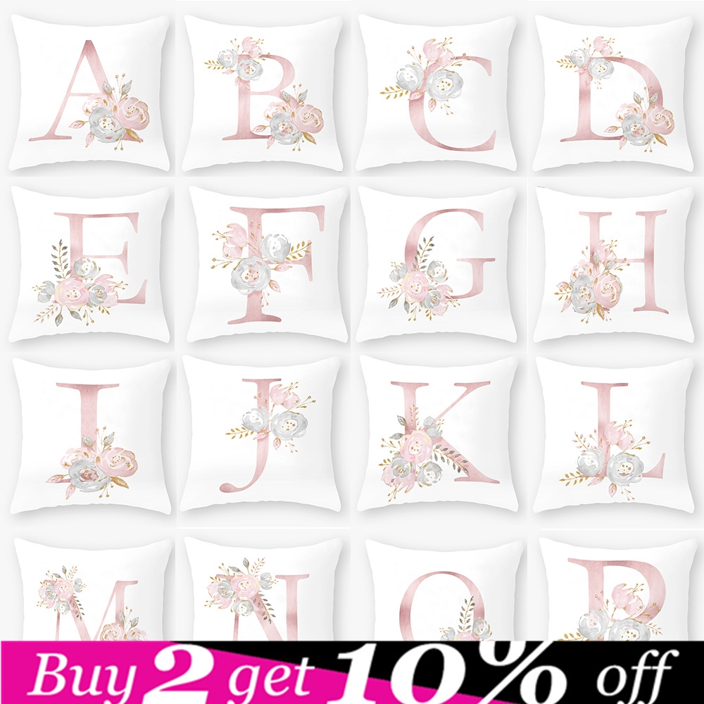 Letter Pillow Cover Room English Alphabet For Home Party Decoration Accessories Cushion Flower Pink Pillowcase Polyester