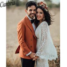 Новые богемные Свадебные платья русалки с открытой спиной кружевные