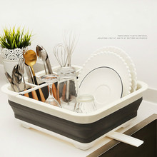 Foldable Kitchen Dish Rack Cup Drainer Dry Tableware Organizer Cutlery Storage Box Collapsible Bowls Holder mx11081110