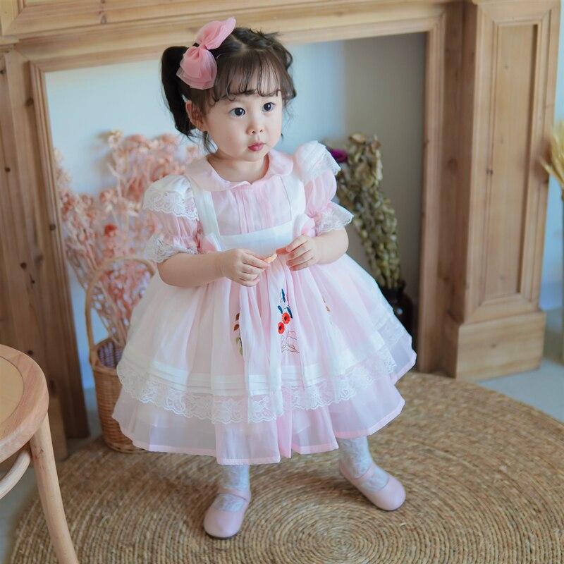 Summer Lolita Spanish Princess Cute Lace Mesh Bow Ball Gown Short Sleeve Dress Pink Peter Pan Collar Turkey Vintage Party Dress