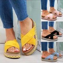 Slippers Women Platform Cross Tie Causal Slides Summer Sandals Woman Flat Soft PU Leather Women's Shoes Plus Size 35-43 Female raw trim criss cross pu sandals