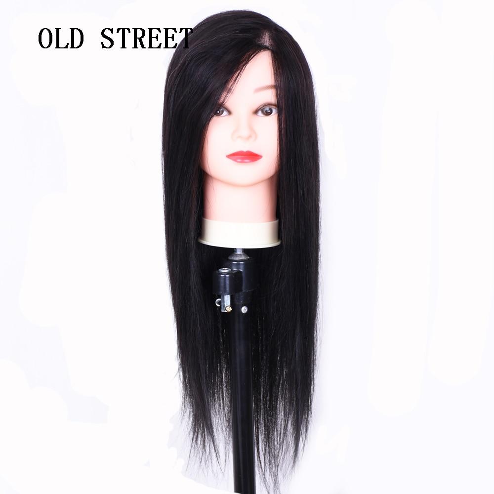 Tête de Mannequin de cheveux humains mode 70% avec cheveux 22 ''tête d'entraînement pratique de coiffure avec pince gratuite