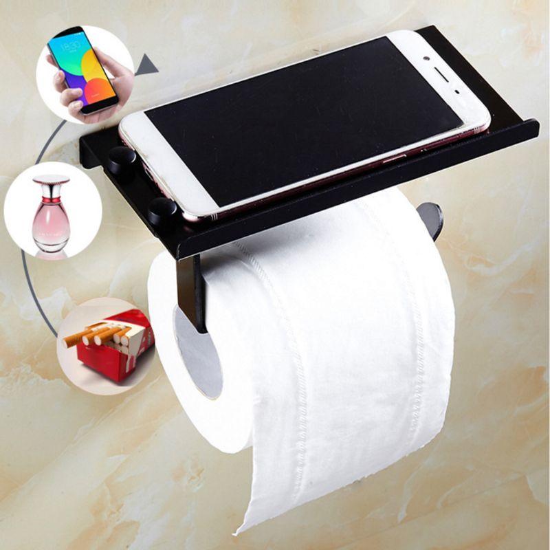 Bathroom Toilet Roll Paper Holder Wall-mounted Aluminum Tissue Phone Rack Shelf Stainless Steel Bathroom WC Paper Phone Holder W