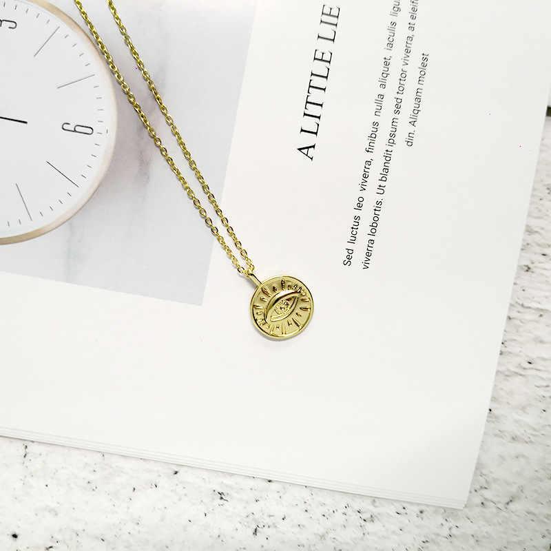 Münze Auge Anhänger Halsketten für Frauen Einfache Runde Disc Layered Halsreif Boho Charms Initial Halsketten Schmuck