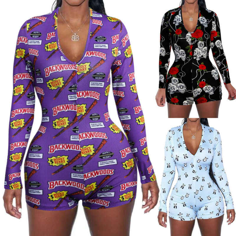 2019 Hot Koop Lente Womens Jumpsuit Nachtkleding Mode Bloemen Lange Mouwen V-hals Bodycon Jumpsuit Bodysuit Romper Shorts Broek