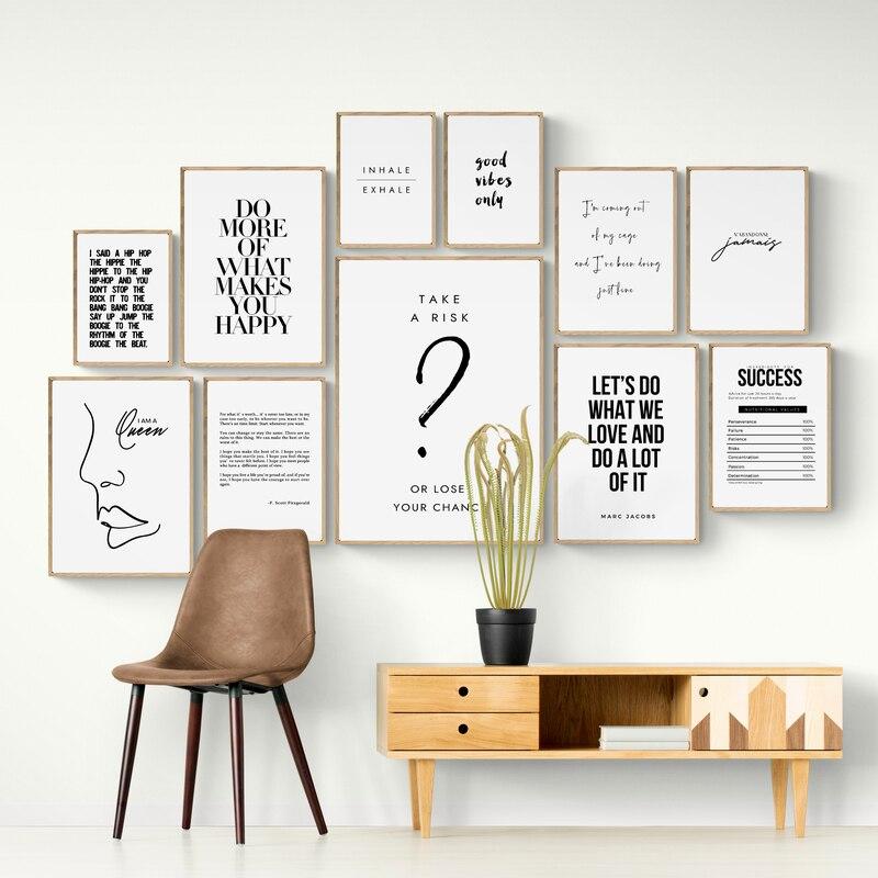 Pintura em tela citações letras arte da parede da cozinha posters e cópias ofiice preto e branco imagens de parede para sala estar