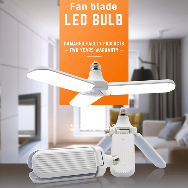 LED Folding Garage Light Three-leaf Bulb Lamp Wide Pressure High-brightness Constant Current With Radar Sensor Bulb