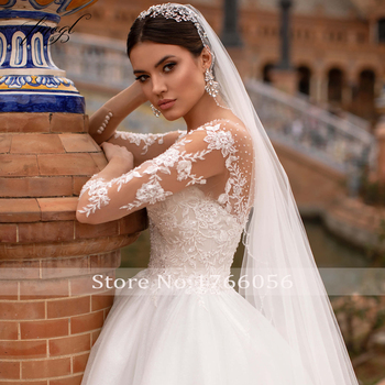 Fmogl Vestidos De Noiva Long Sleeve Lace Princess Wedding Dress 2021 Sexy Illusion Applique Beaded Court Train A Line Bride Gown 4