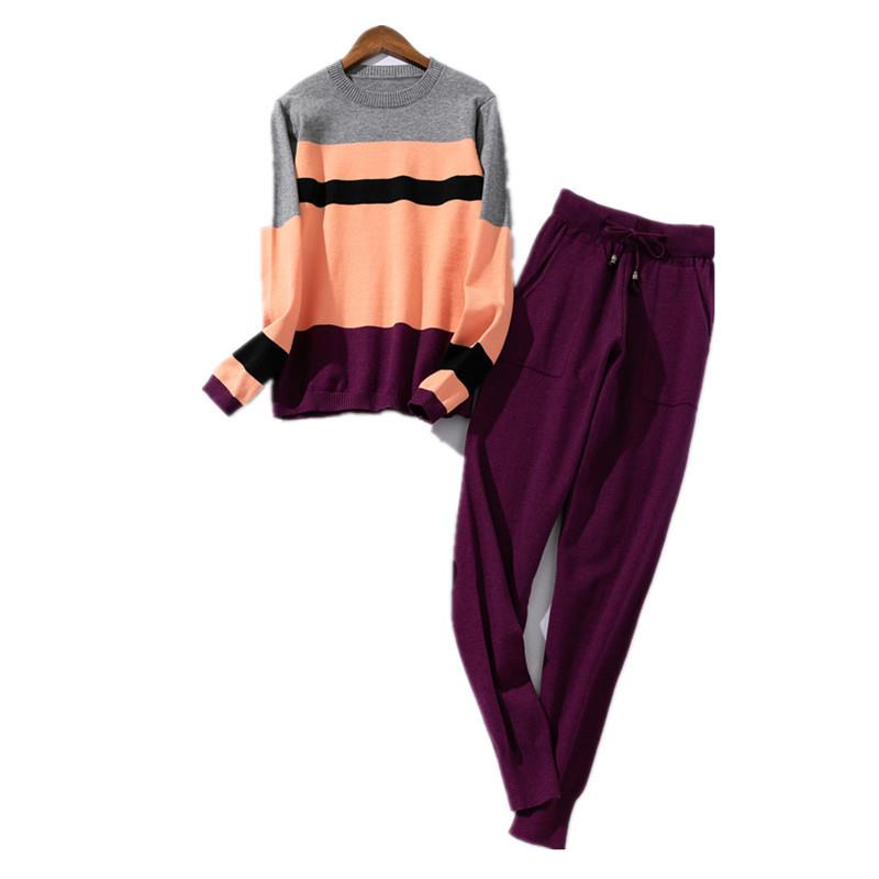 Nice Women Knitted Tracksuit Pullove Sweater And Pants Knitted 2 Piece Set Casual Sportwear Striped Sweatsuit