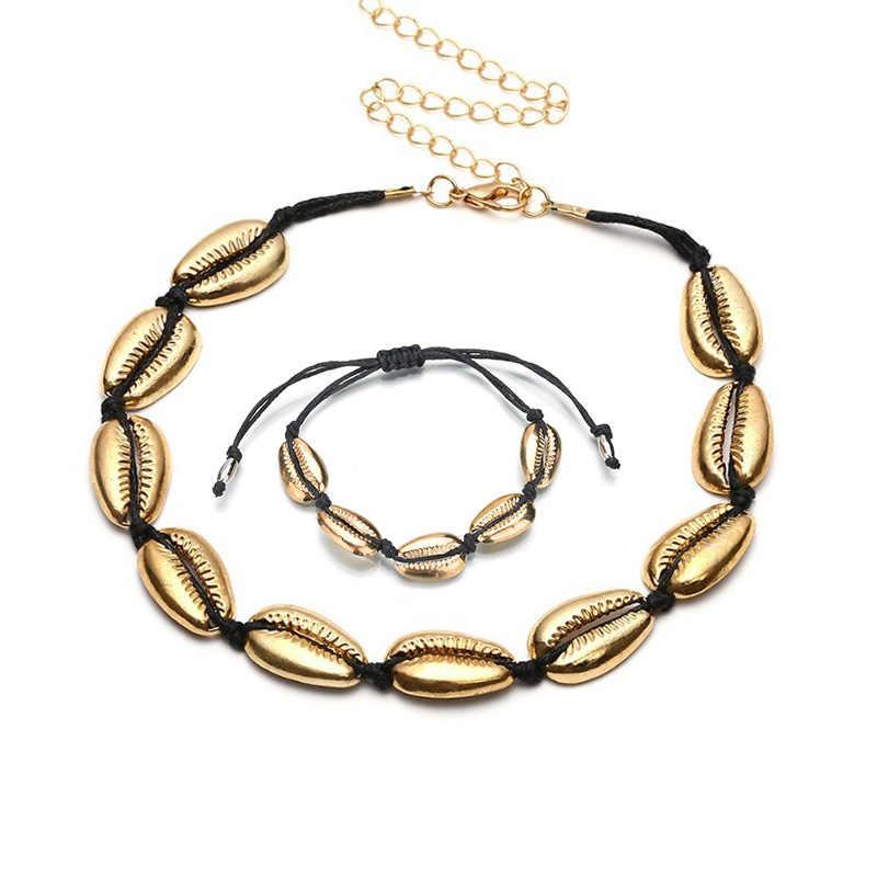 Bohemia Vỏ Bộ Trang Sức Handmade Cho Chuỗi Dây 2PC Vòng Tay Vòng Cổ jwellery Bộ Boho Đi Biển Mùa Hè Phụ Kiện