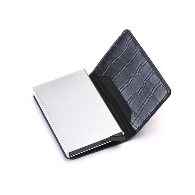 Aluminum Metal Credit Business Mini Card Wallet 2021 Dropshipping Man Women Smart Wallet Business Card Holder Rfid Wallet 5