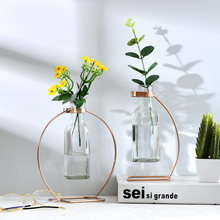 Creative Metal Flower Vase Stand Test Tube Vases Transparent Glass Hydroponic Flowerpot Ornament Interior Garden Home Decoration(China)