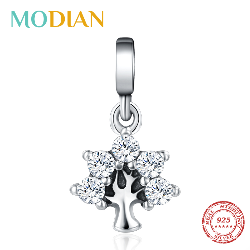Modian 925 Sterling Silver Tiny Clear CZ Leaf Tree Small Charms Fashion Fit Bracelet Bangle For Women Silver Fine Jewelry