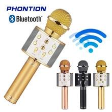 цена на WS858 Bluetooth Wireless Microphone Speaker professional Handheld Singing Recorder Karaoke Mic Music Player studio microphone dj