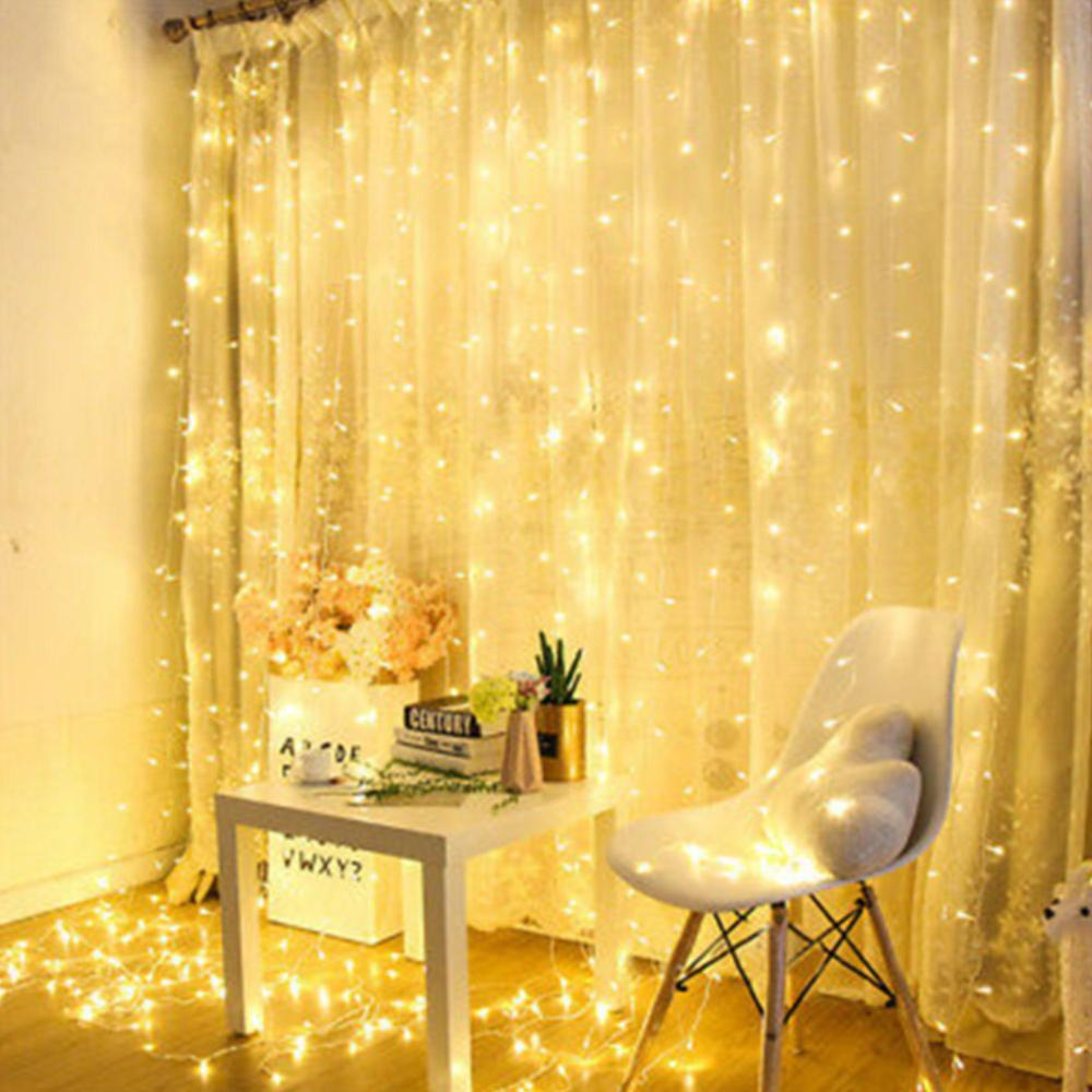 LED Curtain Icicle String Lights Christmas Fairy Lights Garland 8 Modes 300 Led Outdoor Home For Wedding/Party/Garden Decoration
