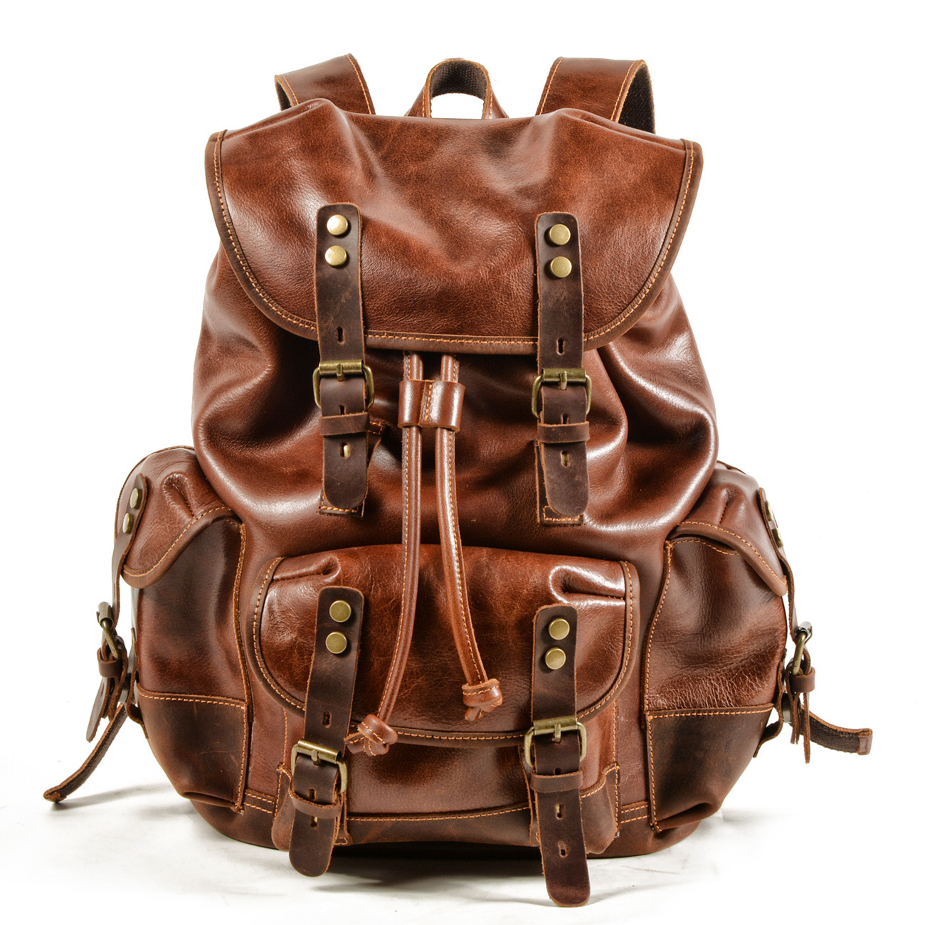 The New Genuine Leather Men Backpack  Outdoor Casual School Bag Large Capacity Backpack Genuine Leather Mountaineering Bag