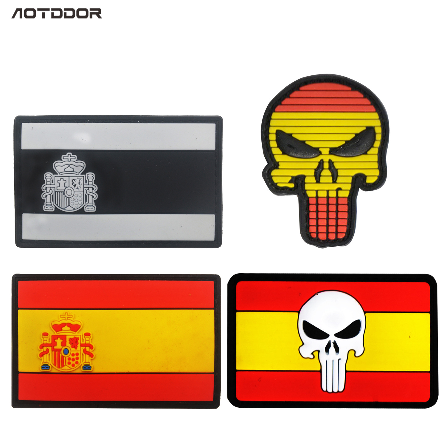 Cross Border Currently Available Supply Of Goods Currently Available Spain Flag PVC Epoxy Decoration Punisher Velcro Label Bag W