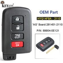 Keyecu hyq14fba 281451 2110 89904 0e121 4 botão keyless cartão inteligente remoto carro chave fob para toyota highlander kluger 2014 2019