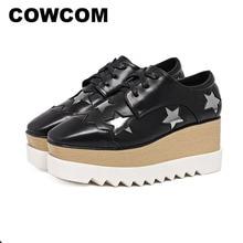 Cowcom estrelas sapatos de plataforma inferior tiras de salto alto quadrado cabeça cunhas único sapatos femininos sapatos casuais HZB 763 3