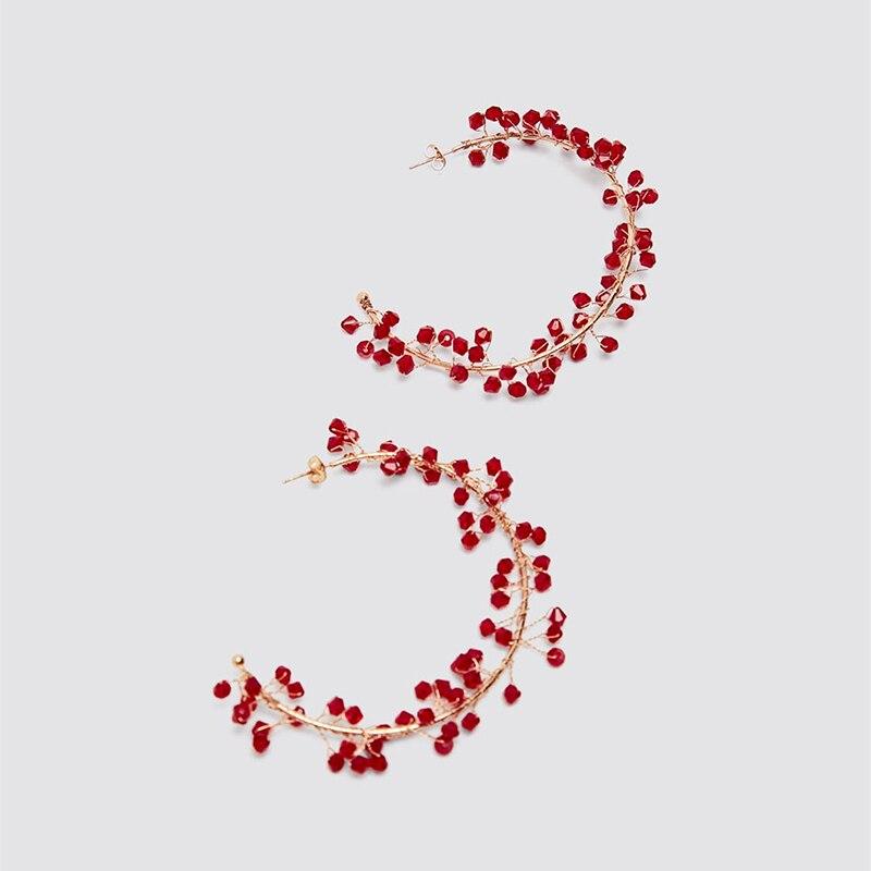 Red Bead C-shape 2020 New Boho Handmade ZA Earrings For Women Wedding Drop Statement Earrings Jewelry Fashion Wholesale