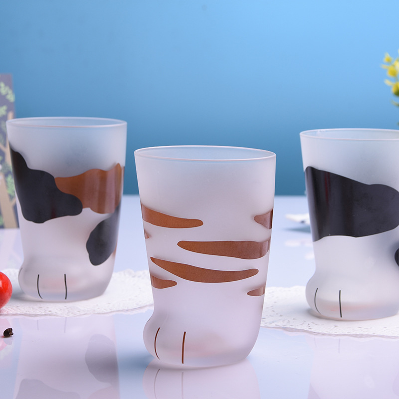 H97a0de22862b49c8b4390300e447ebe0n - 350ml Mug Heat-resistant Glass Cat Cup Tiger Paws Office Matte Cat Paws Creative Milk Coffee Cup Cute Children Drink Bottle