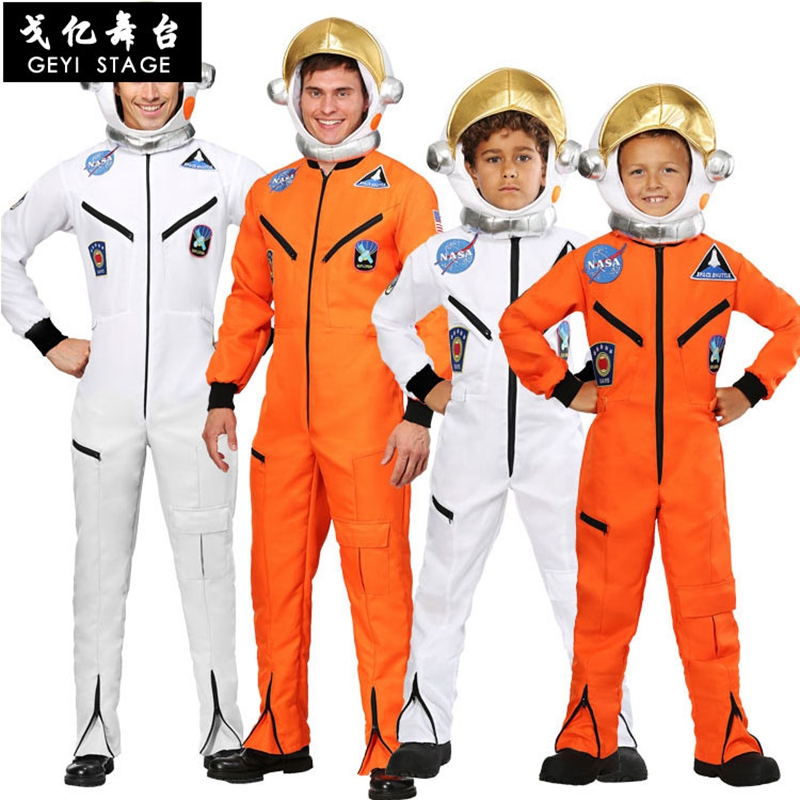 Space Suit For Men Adult Plus Size Astronaut Costume White Pilot Costumes 2019 New Arrival Halloween Costume One Piece Jumpsuit