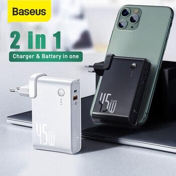 Batterie externe Baseus GaN 10000mAh 2 en 1 chargeur USB 45W PD chargeur de charge rapide et batterie en un ForiP 11 Pro ordinateur portable ForXiaomi 1